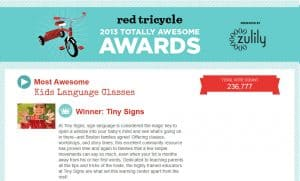 "Tiny Signs Wins ""Most Awesome Kids Language Class"" in Greater Boston!"