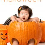 baby sitting inside pumpkin