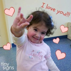 Want to teach your baby how to sign I LOVE YOU in baby sign language? Learn the ASL signs for LOVE and I LOVE YOU (and more!) in this free Valentine's Day themed video lesson from Tiny Signs.